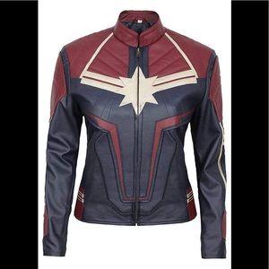 👻 Capitan Marvel teal leather jacket new L